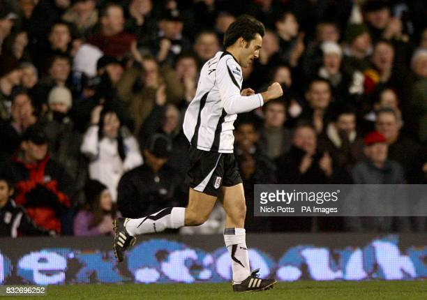 Fulham's Vincenzo Montella celebrates after scoring the opening goal of the game