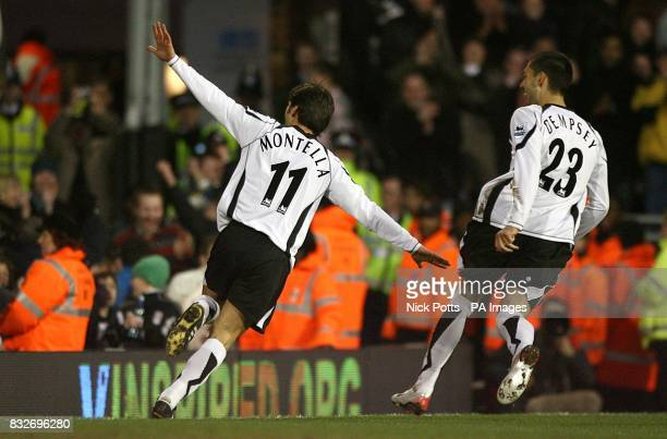 Fulham's Vincenzo Montella celebrates after scoring the opening goal of the game with team mate Clint Dempsey