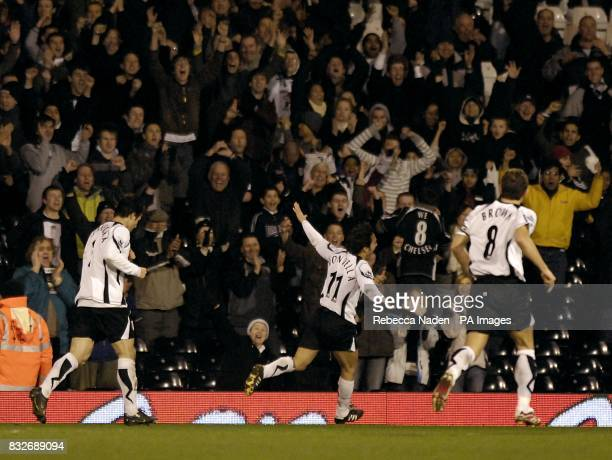 Fulham's Vincenzo Montella celebrates his second goal of the evening