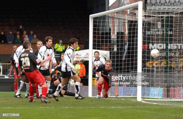 Fulham's Vincenzo Montella scores against Stoke City during the FA Cup fourth round at Craven Cottage London