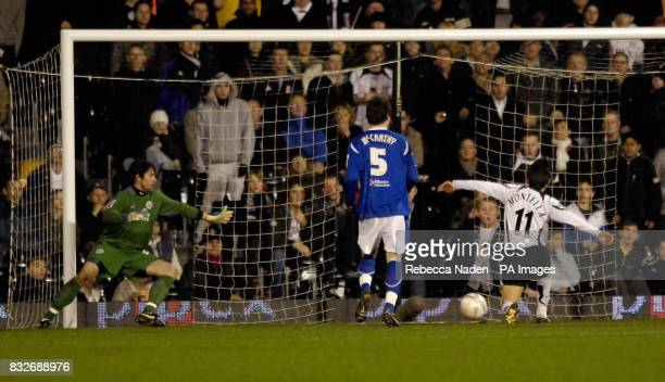 Fulham's Vincenzo Montella scores his first goal against Leicester during the FA Cup third round replay at Craven Cottage London