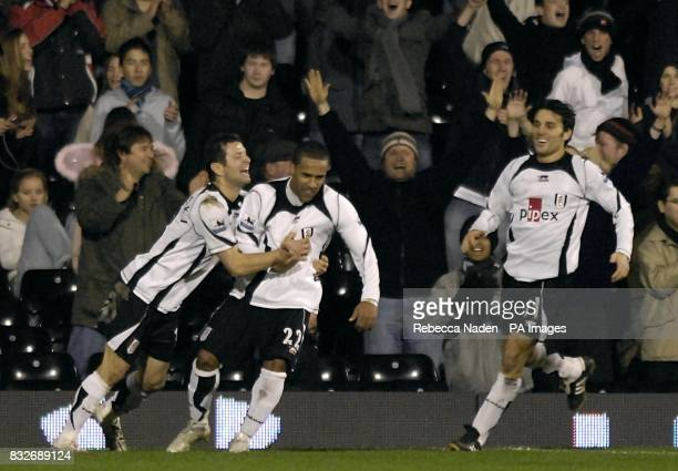 Fulham's Wayne Routledge celebrates his winner in injury time