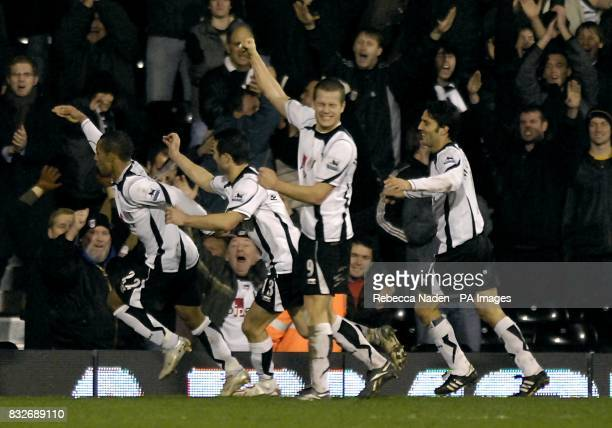 Fulham's Wayne Routledge celebrates his winning goal in injury time