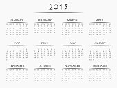 Simply designed calendar for year 2015
