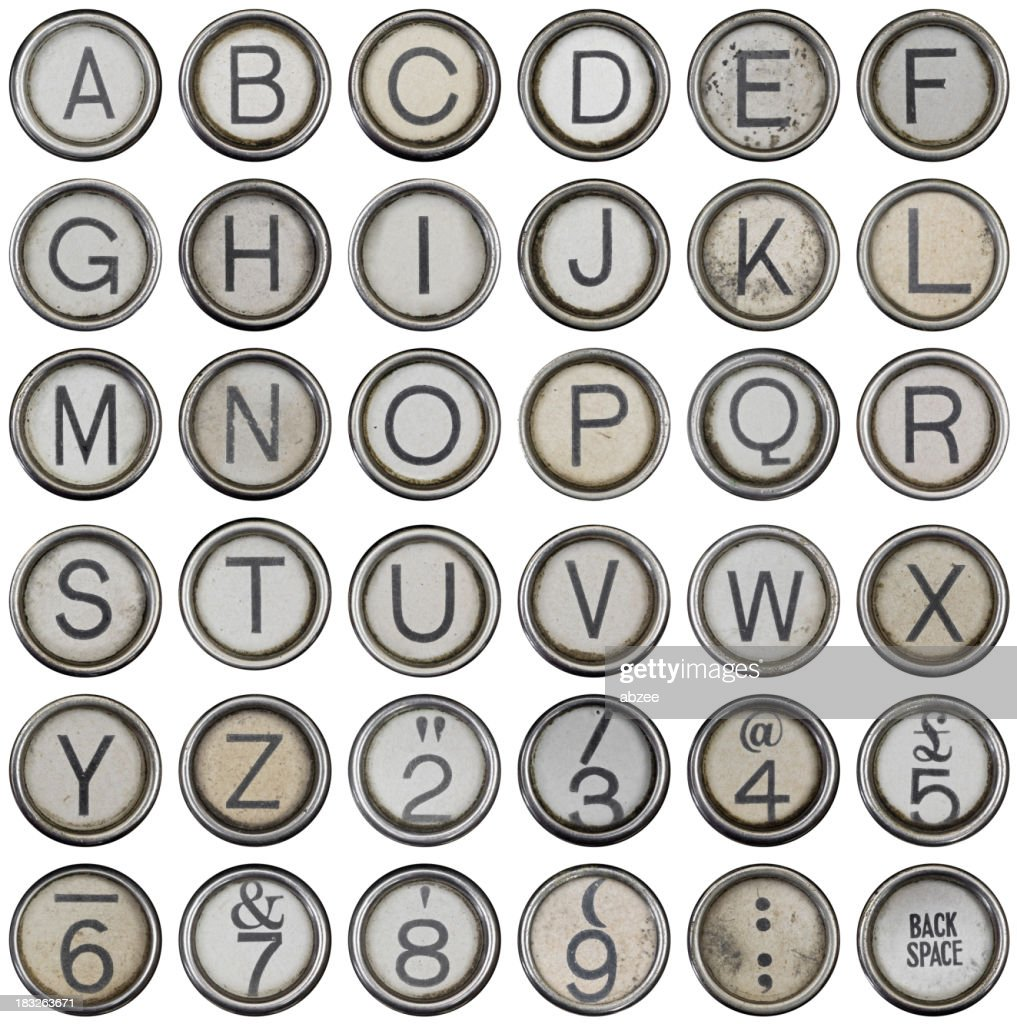 Full alphabet and numbers from grungey typewriter