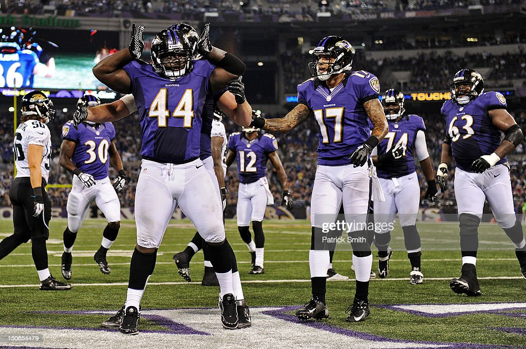 Full back Vonta Leach #44 of the Baltimore Ravens celebrates a rushing touchdown against the Jacksonville Jaguars in the third quarter at M&T Bank Stadium on August 23, 2012 in Baltimore, Maryland. The Baltimore Ravens won, 48-17.