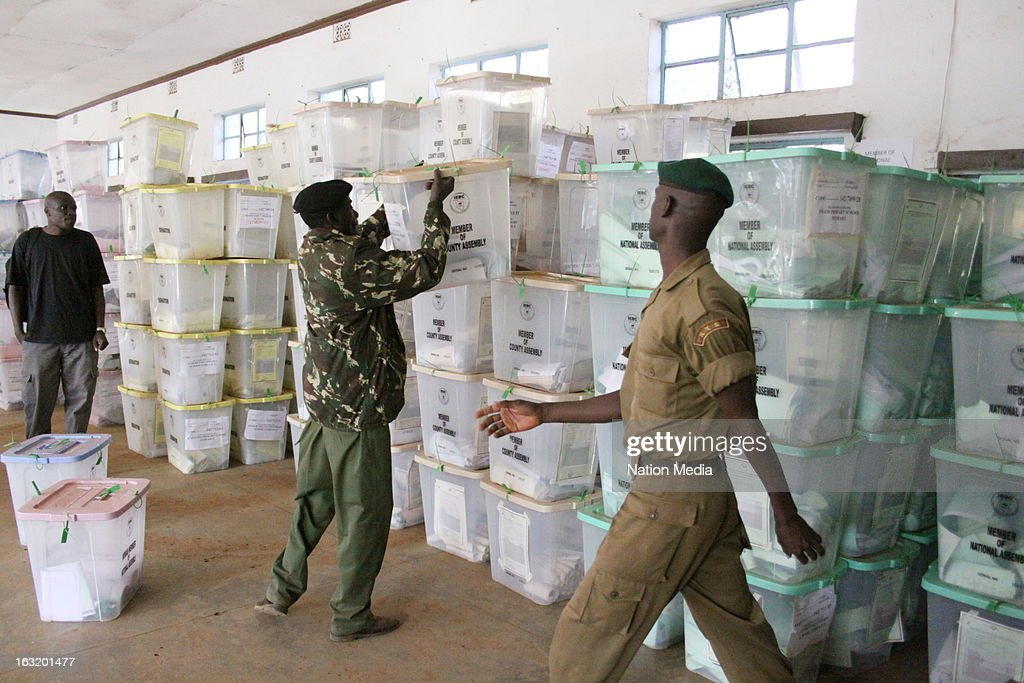 Full ballot boxes stacked under police guard prior to counting after being returned from polling stations on March 5, 2013 at Uasin Gishu Primary School Tallying Centre in Gishu, Kenya. . Kenya's last General elections resulted in mass violence across the country. Violence has been reported in 2013 elections in Mombasa with four policeman killed. This is the first General Election under the new constitution enacted in 2010.