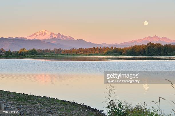 Full Blue Moon over Mt. Baker and Three Sisters Mt