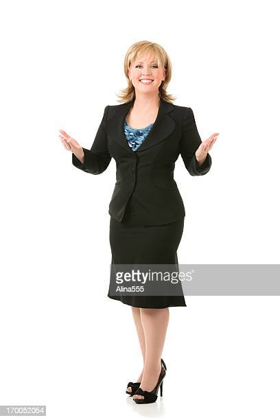 Full body portrait of a blond businesswoman on white