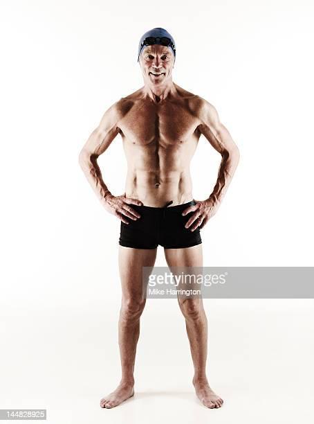 Full Body Portrait of Mature Male Swimmer
