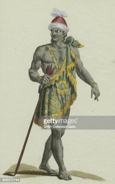 Full body portrait of the King of Florida a province in modern day South Africa holding a staff 1849 From the New York Public Library
