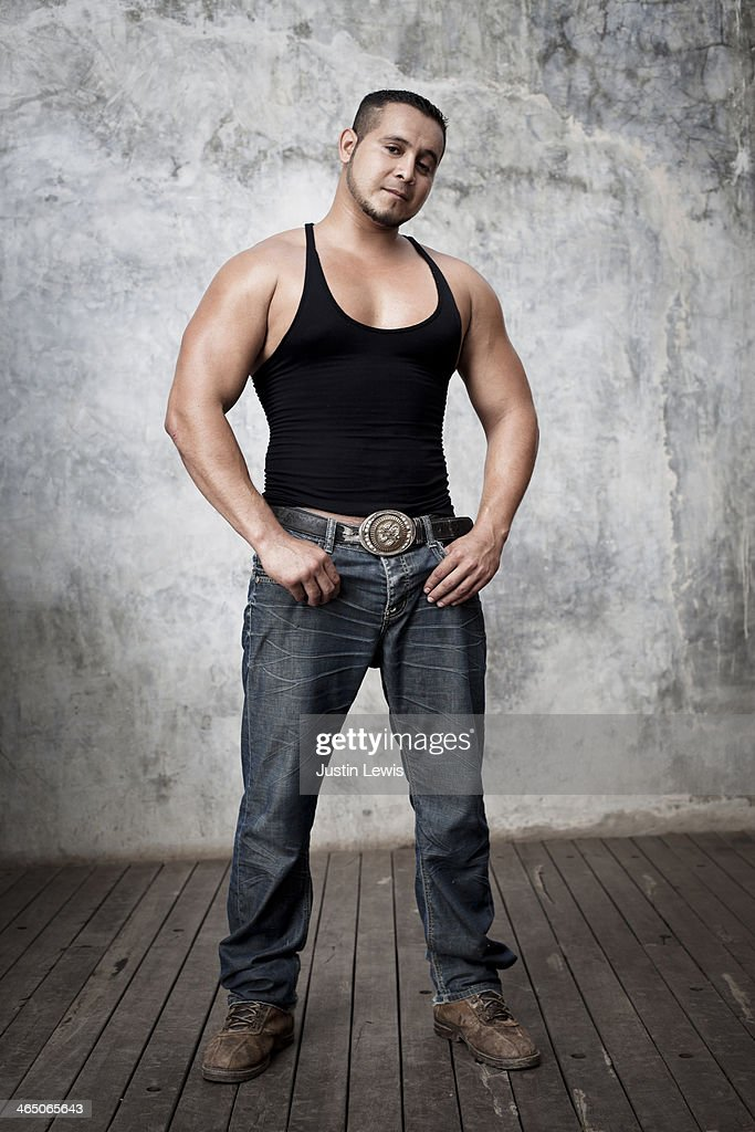 Full body portrait of young Mexican man : Stock Photo