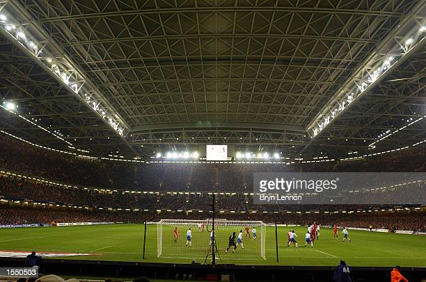 A full capacity crowd watches the 2004 European Champioship Group 9 Qualifying match between Wales and Italy on October 16 2002 played at the...