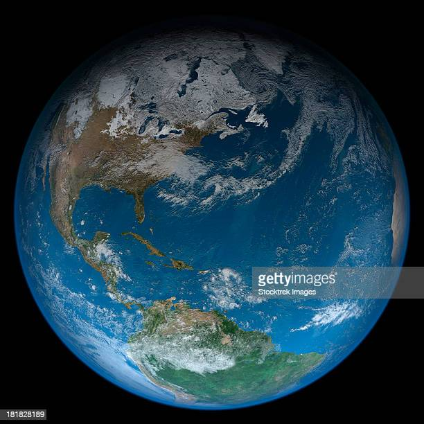 Full Earth featuring North and South America. The west African coast can be seen to the right. The lighting of this scene is completely artistic and not scientifically accurate.
