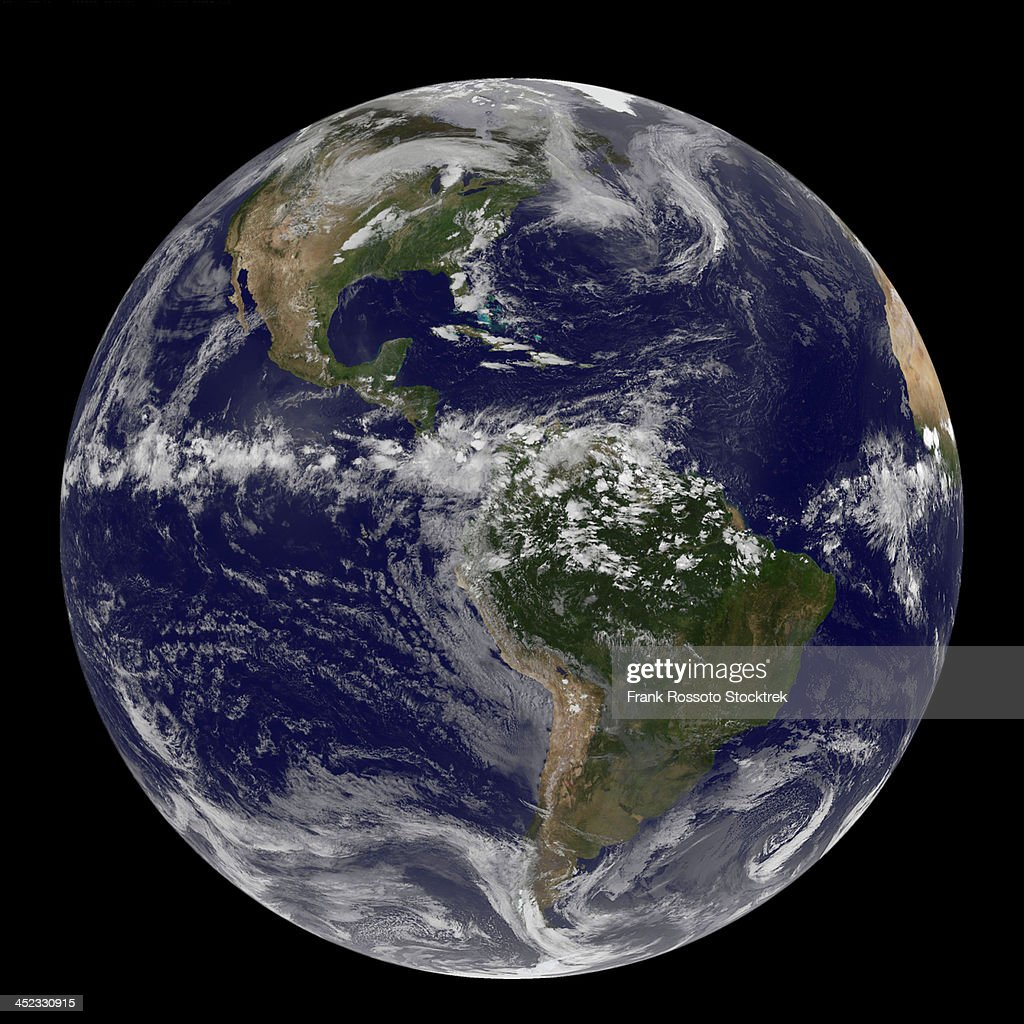 Full Earth showing a storm system.