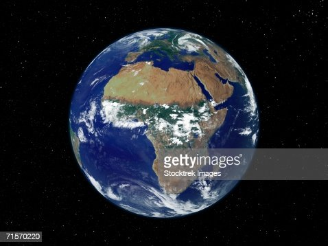 Full Earth showing Africa and Europe during day. : Stock Photo