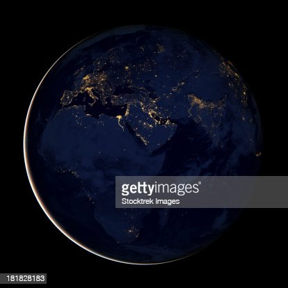 Full Earth showing city lights of Africa, Europe, and the Middle East.