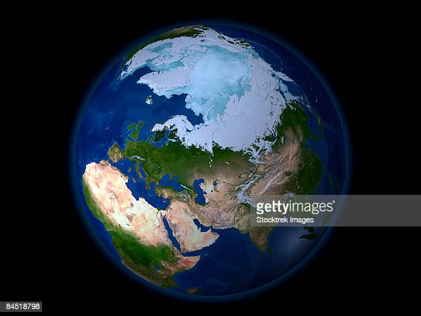 Full Earth showing the Arctic region.