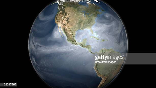 Full Earth view showing water vapor over the Americas.