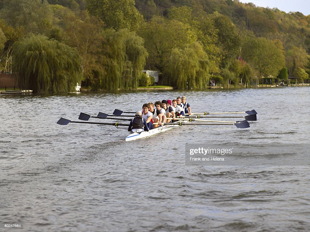 Full eight rowing. : Stock Photo
