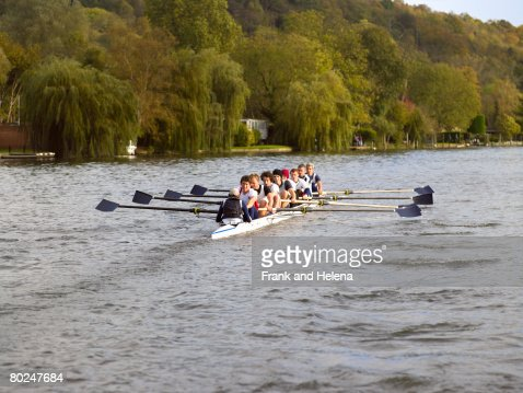 Full eight rowing. : Stockfoto