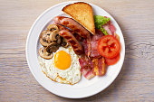 Full English or Irish breakfast: sausages, bacon, egg, mushrooms, tomatoes and toasts. Nutritious morning meal