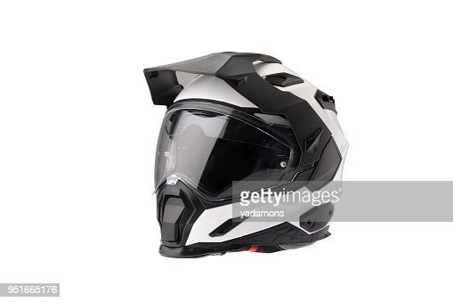 Full face Motorcycle white helmet, close the face shield. : Stock Photo
