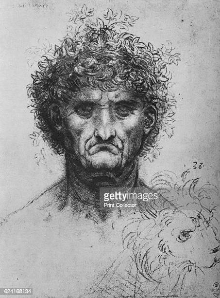 Full Face of an Old Man Wearing a Wreath' c1480 From The Drawings of Leonardo da Vinci [Reynal Hitchcock New York 1945] Artist Leonardo da Vinci