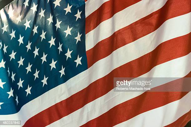 COLISEUM TORONTO ONTARIO CANADA Full Frame close up of the United States flag or flag of the United States backlit during a medal ceremony in the...