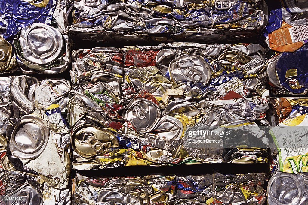 Full Frame Close-up of Crushed Cans For Recycling : Stock Photo
