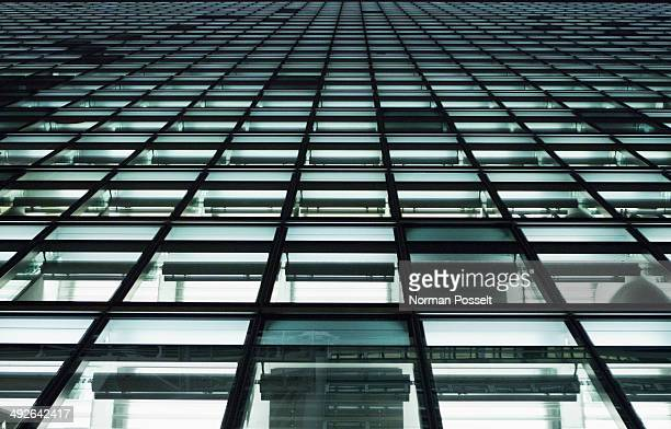 Full frame, close-up of office building windows