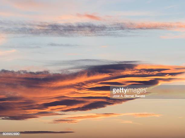 Full Frame of a beautiful colorful sky with clouds at sunset