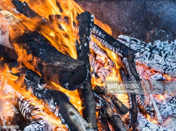 Full frame of a bonfire of fuelwood outdoors with flames and sparks.