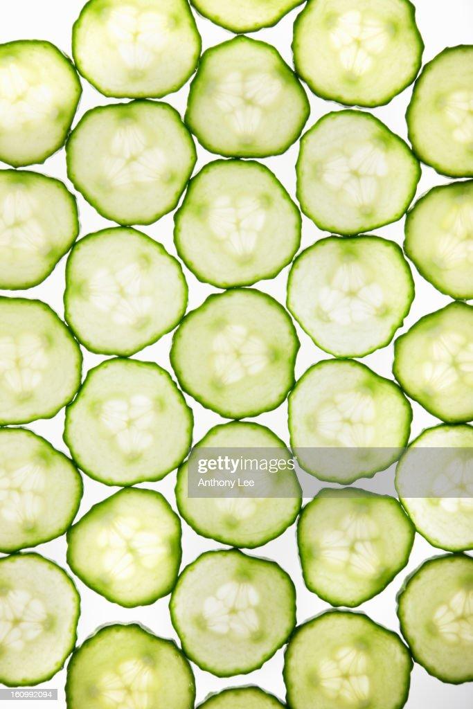 Full frame of cucumber slices : Stock Photo