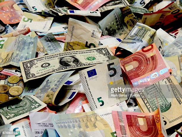 Full Frame Of Currency Notes And Coins