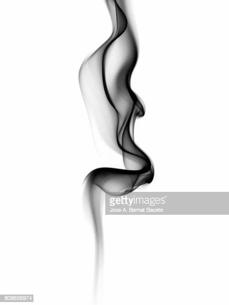 Full frame of forms and figures of smoke of color gray and black in ascending movement produced, by an explosion on a white background