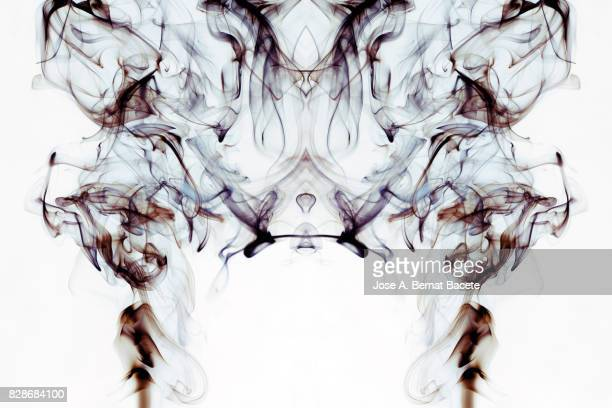 Full frame of forms and figures of smoke of color gray and brown in ascending movement , on a white background