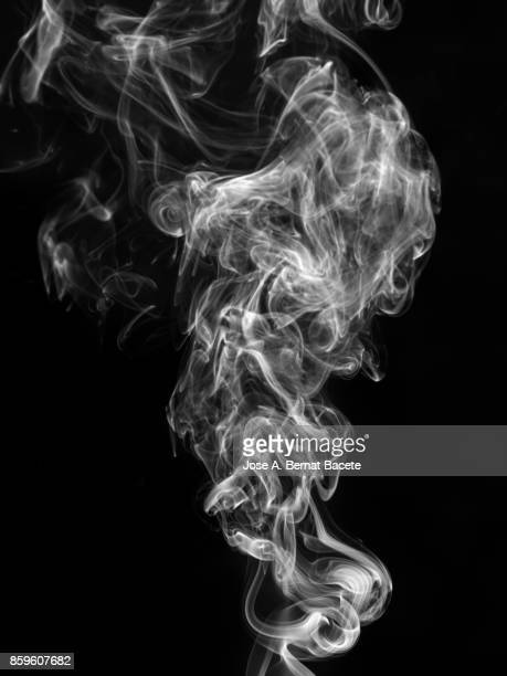 Full frame of forms and figures of smoke of color  white in ascending movement , on a black background