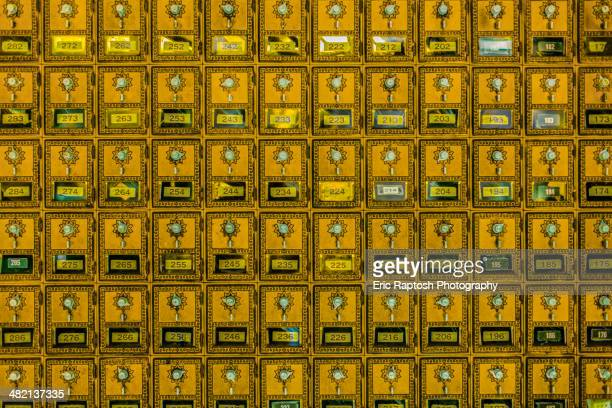 Full frame of retro mailboxes
