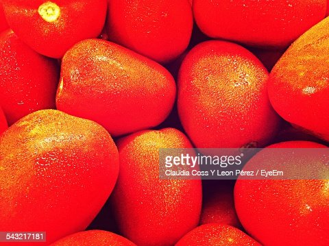 Full Frame Of Small Tomatoes, Color Enhanced