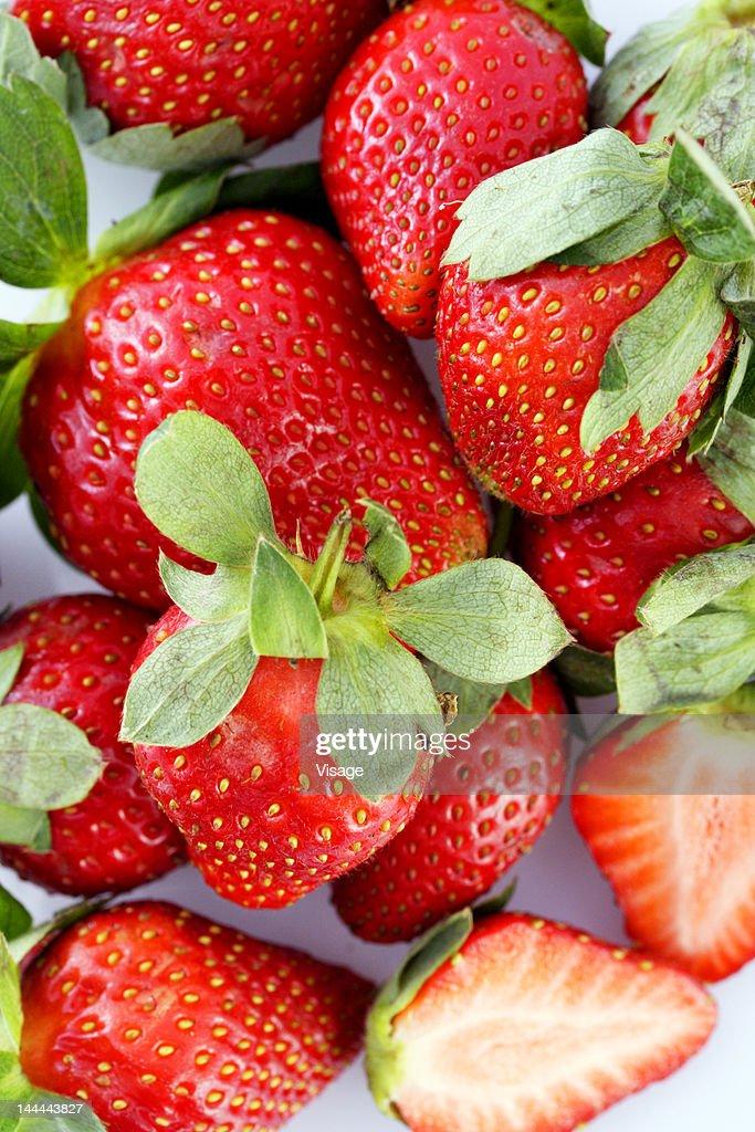 Full frame of strawberries : Stock Photo