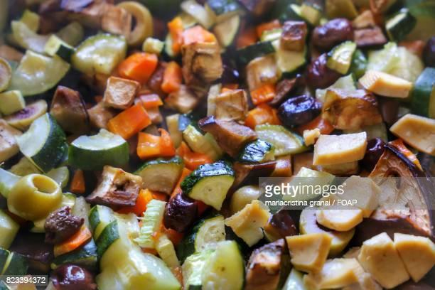Full frame of tofu and vegetable salad
