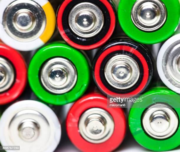 Full Frame Shot Of AA alkaline Batteries close up