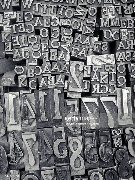 Full Frame Shot Of Alphabets And Numbers Of Letterpress