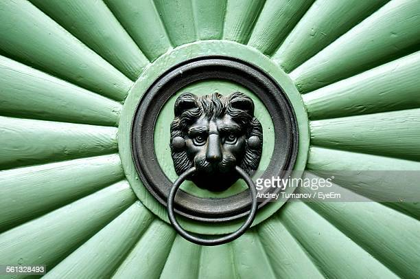 Full Frame Shot Of Antique Knocker On Green Door