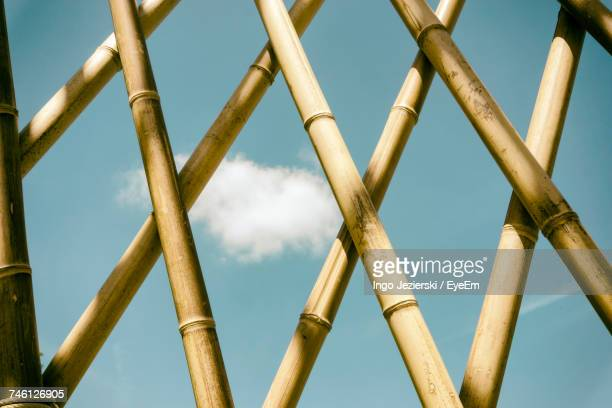 Full Frame Shot Of Bamboo Fence Against Sky