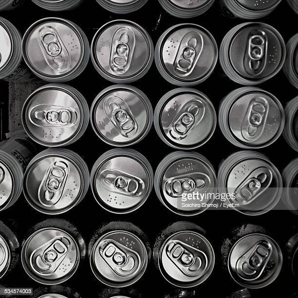 Full Frame Shot Of Beer Cans