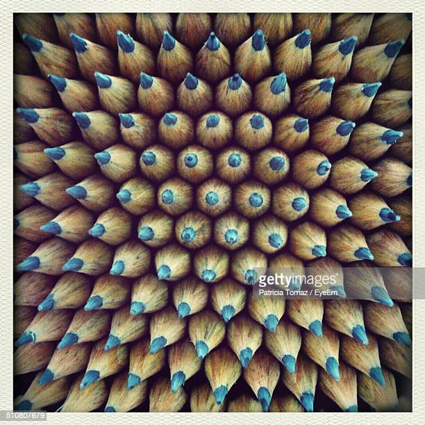 Full frame shot of blue color pencils