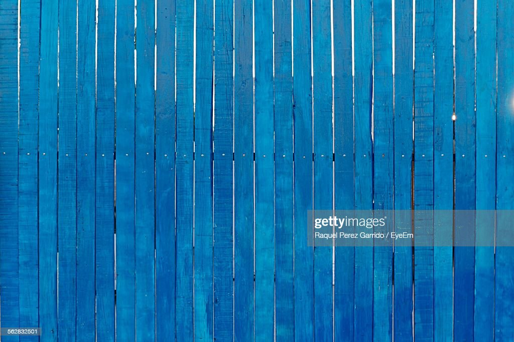 Full Frame Shot Of Blue Wooden Wall : Stock Photo