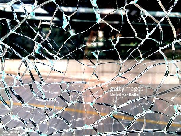 Full Frame Shot Of Broken Glass Window